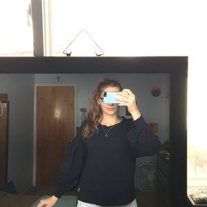a.n.a navy blue bubble sleeve sweatshirt